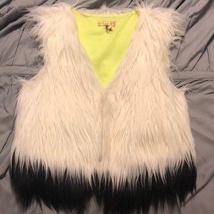 Multi color fur vest